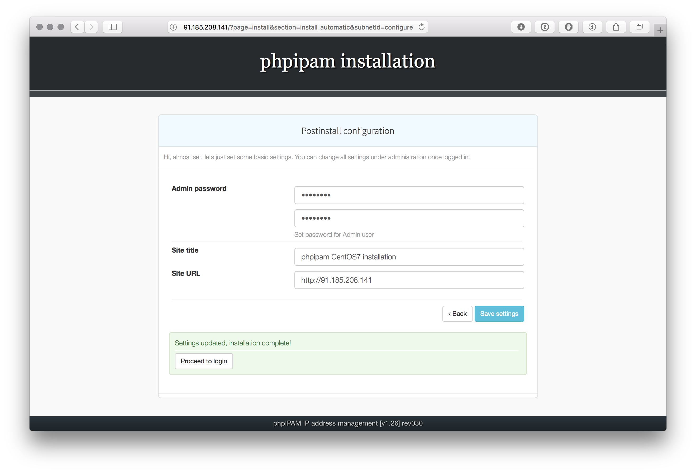 phpIPAM installation on CentOS 7